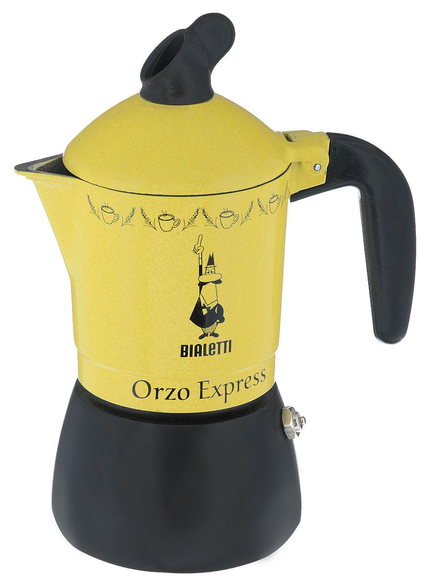 Кофеварка гейзерная Bialetti Orzo Express Gialla MR, для желудевого кофе, на 2 чашки115510Компактная гейзерная кофеварка Bialetti Orzo Express Gialla MR изготовлена из высококачественного алюминия. Объема кофе хватает на 2 чашки. Изделие оснащено удобной ручкой из бакелита.Принцип работы такой гейзерной кофеварки - кофе заваривается путем многократного прохождения горячей воды или пара через слой молотого кофе. Удобство кофеварки в том, что вся кофейная гуща остается во внутренней емкости. Гейзерные кофеварки пользуются большой популярностью благодаря изысканному аромату. Кофе получается крепкий и насыщенный. Теперь и дома вы сможете насладиться великолепным эспрессо. Подходит для газовых, электрических и стеклокерамических плит. Нельзя мыть в посудомоечной машине. Высота (с учетом крышки): 19 см.