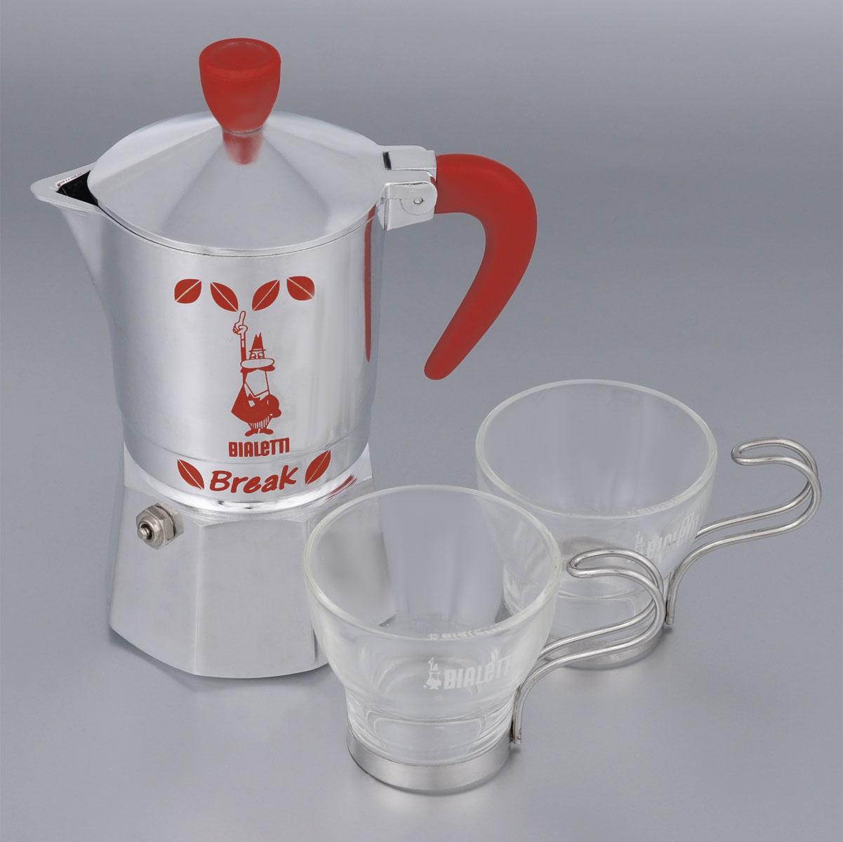 Набор посуды Bialetti Break and Marocchino, 3 предметаVT-1520(SR)Набор посуды Bialetti Break and Marocchino включает в себя гейзерную кофеварку и 2 кофейные чашки.Компактная гейзерная кофеварка изготовлена из высококачественного алюминия. Объема кофе хватает на 2 чашки. Изделие оснащено удобной ручкой из нейлона и клапаном давления.Кружки выполнены из высококачественного стекла и оснащены металлическими ручками.Принцип работы такой гейзерной кофеварки - кофе заваривается путем многократного прохождения горячей воды или пара через слой молотого кофе. Удобство кофеварки в том, что вся кофейная гуща остается во внутренней емкости. Гейзерные кофеварки пользуются большой популярностью благодаря изысканному аромату. Кофе получается крепкий и насыщенный. Теперь и дома вы сможете насладиться великолепным эспрессо. Подходит для газовых, электрических и стеклокерамических плит. Нельзя мыть в посудомоечной машине. Высота кофеварки: 18 см.Диаметр дна кофеварки: 7,8 см.Диаметр кружек по верхнему краю: 6,6 см.Диаметр дна кружек: 4,5 см.Высота кружек: 6 см.Объем кофеварки: 250 мл.Объем чашки: 125 мл.