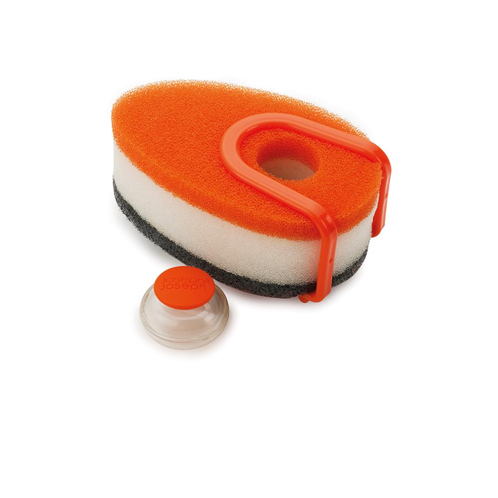 Губка с капсулой для моющего средства Joseph Joseph Soapy Sponge, цвет: оранжевый, 3 шт. 85073531-105Во время мытья посуды приходится постоянно добавлять моющее средство на губку, что отнимает время, а бутылка со средством занимает рабочее пространство у вашей раковины.Губка с капсулой для моющего средства Joseph Joseph Soapy Sponge- высокоэффективная универсальная губка с отделением для капсулы с моющим средством оптимальным образом расходует средство во время мытья посуды.Намочите губку с капсулой в тёплой воде и слегка сдавите для подачи жидкого средства.Губка имеет трёхслойную текстуру для чистки любых поверхностей и специальное крепление для раковины, чтобы ваша кухня была ещё более чистой и удобной.После использования удалите капсулу и промойте губку в чистой воде. Жёсткая сторона губки не подходит для деликатных поверхностей.В комплект входит: 3 губки, одна капсула для моющего средства и одно крепление на раковину.