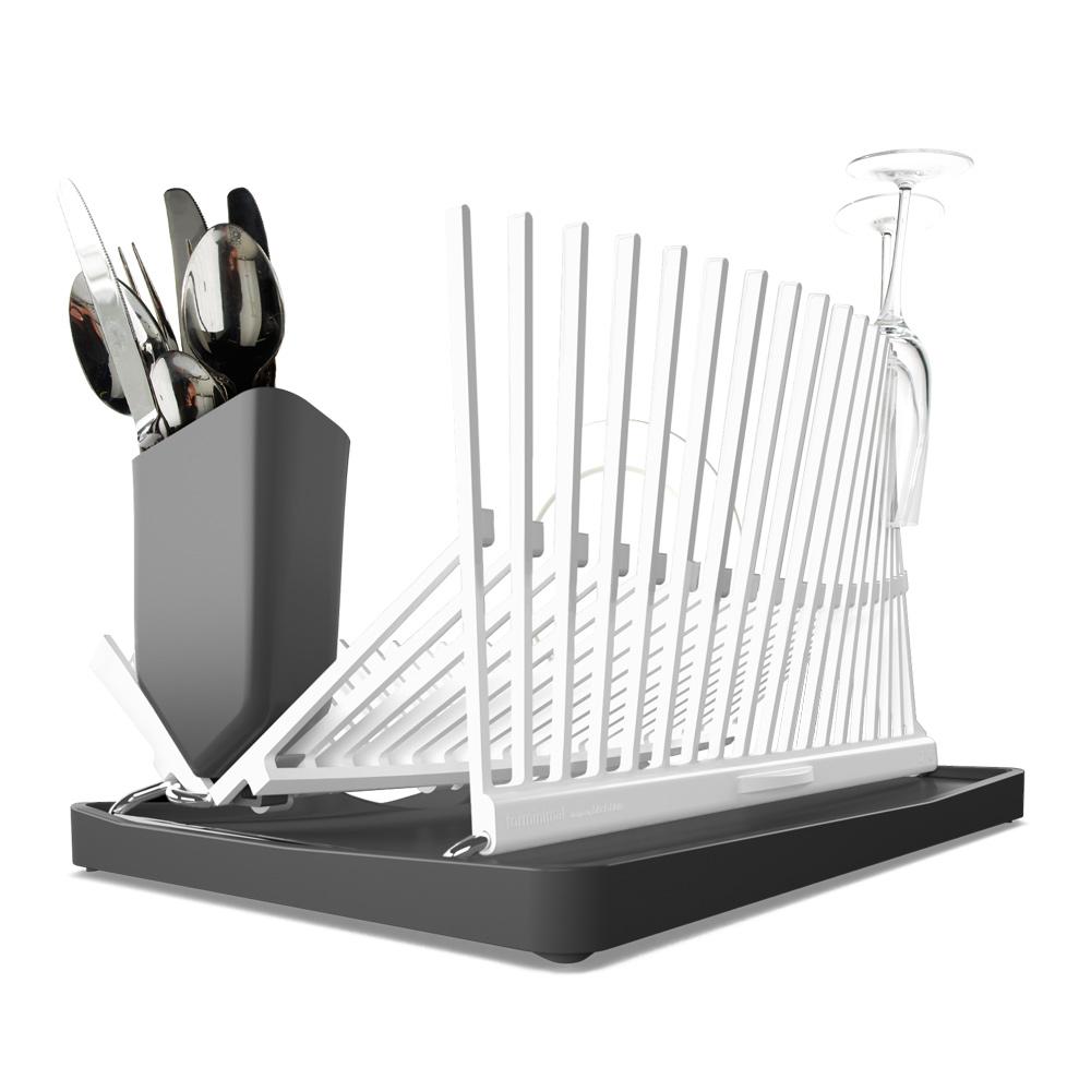 Сушилка Forminimal. FDR001115510Подставка, напоминающая архитектурные силуэты, одинаково стильная и функциональная. Вода с посуды скапливается в специальном поддоне, который легко чистится. Вертикальные держатели подойдут как для хрупких стаканов, так и для тяжёлых сковород. Можно мыть всю конструкцию в посудомоечной машине.