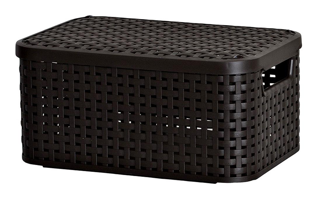 Корзина универсальная Curver Раттан, с крышкой, цвет: темно-коричневый, 39 см х 29 см х 18 см3618_тёмно-коричневыйПрямоугольная корзина Curver Раттан, изготовленная из прочного пластика, оснащена крышкой.Изделие идеально подойдет для хранения мелочей в ванной, на кухне, даче или гараже.Позволяет хранить мелкие вещи, исключая возможность их потери. Корзина с отверстиями на стенках, крышке и со сплошным дном оснащена двумя ручками для удобной переноски.