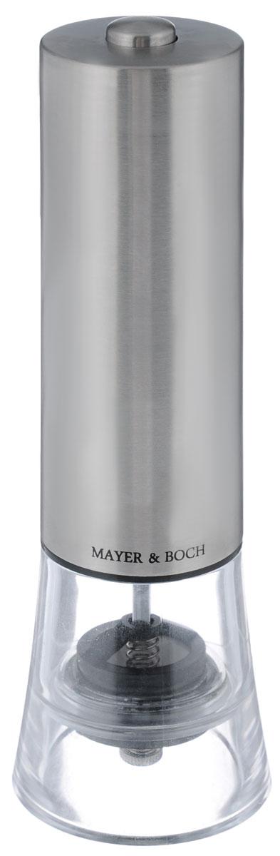 Электрическая мельница для соли и перца Mayer&Boch. 241623721074Электрическая мельница для соли и перца Mayer & Boch обладает элегантным современный дизайном. Мелющий механизм выполнен из первоклассной нержавеющей стали. Грубость помола можно регулировать. Электрическая мельница с легкостью справится с горошинами перца или крупными кристаллами соли и измельчит их до нужного вам состояния. Изделие легко мыть.Электрическая перцемолка Mayer & Boch - это стильный и функциональный аксессуар для кухни.Питается от 4 батареек типа АА (не входят в комплект).