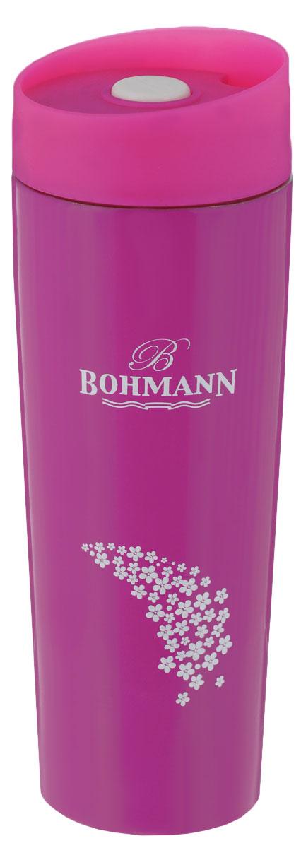 Термокружка Bohmann, цвет: розовый, 450 мл115510Термокружка Bohmann выполнена из высококачественной окрашеннойнержавеющей стали. Кружка оформлена надписью Bohmann и рисунком. Кружка идеально подходит как для горячих, так и для холодных напитков, надолго сохраняя их температуру. Герметичная завинчивающаяся крышка выполнена из пластика и оснащена кнопкой-фиксатором слива, что предотвращает проливание. Также имеется отверстие для питья. Можно мыть в посудомоечной машине.Диаметр термокружки по верхнему краю: 6,8 см.Диаметр дна термокружки: 5,8 см.Высота термокружки (с учетом крышки): 20,5 см.
