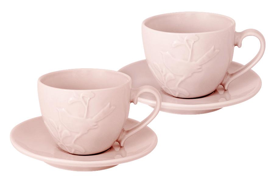Чайный набор SantaFe Птицы, цвет: светло-розовый, 4 предметаAK1508-914-Y15Чайный набор SantaFe Птицы состоит из двух чашек и двух блюдец, выполненных из высококачественной керамики. Изделия оформлены изящным изображением птиц и имеют изысканный внешний вид. Такой набор эффектно украсит стол к чаепитию и порадует вас функциональность и ярким дизайном.Объем чашки: 250 мл.