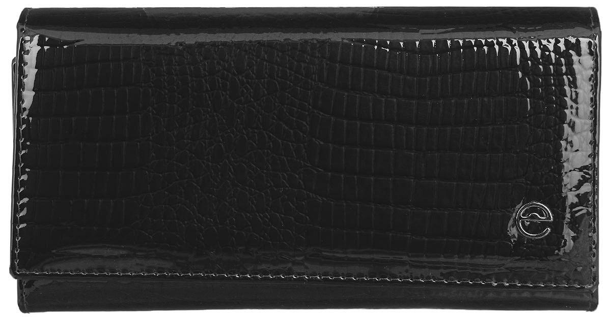 Кошелек женский Cheribags, цвет: черный. 02К-5246-10W16-11135_914Стильный женский кошелек Cheribags выполнен из натуральной кожи с тиснением под рептилию и оформлен металлической фурнитурой с символикой бренда. Внутренняя часть изделия выполнена из текстиля и натуральной кожи.Изделие закрывается клапаном на кнопку. Кошелек содержит три отделения для купюр, отделение для монет на застежке-молнии, врезной карман на молнии, накладной карман, четыре накладных кармана для визиток или кредитных карт, сетчатый накладной карман. Кошелек оснащен дополнительным отделением, которое закрывается хлястиком на кнопку и содержит два сетчатых накладных кармашка, четыре накладных кармашка для визиток, один накладной карман. Снаружи, в тыльной стенке изделия, расположен врезной карман на молнии.Кошелек станет отличным подарком человеку, ценящему практичные и стильные вещи, а качество его исполнения представит такой подарок в самом выгодном свете.