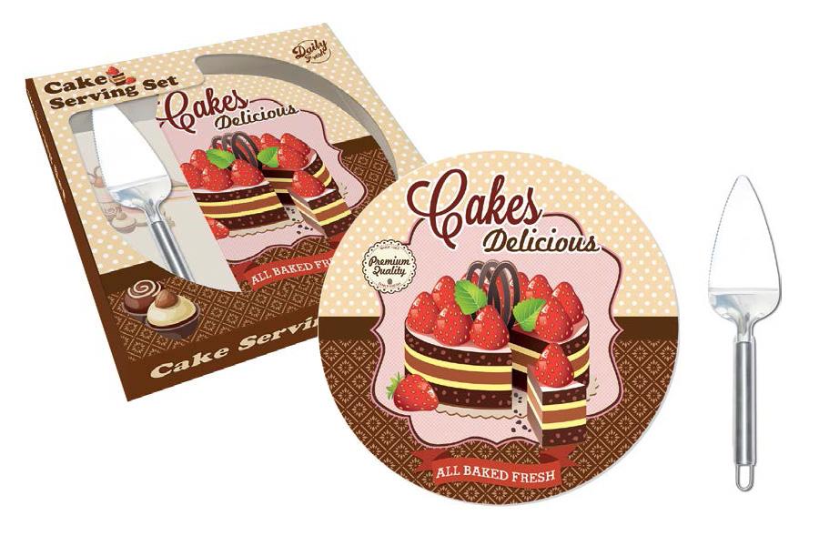 Набор для торта Nuova R2S Подарки, 2 предмета730464Набор для торта Nuova R2S Подарки состоит из блюда, выполненного из фарфора, и специальной металлической лопатки для торта. Плоское круглое блюдо с красочным рисунком идеально подходит для тортов и пирогов. А лопатка удобна для сервировки нарезанных кусочков. Такой набор будет прекрасным подарком любителю выпечки. Элегантный дизайн сделает его изысканным украшением праздничного стола. Диаметр блюда: 32 см.