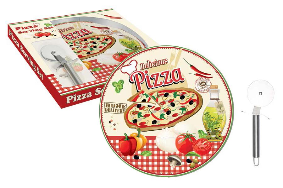 Набор для пиццы Nuova R2S Подарки, 2 предмета40970Набор для пиццы Nuova R2S Подарки состоит из тарелки, выполненной из фарфора, и специального ножа для пиццы. Тарелка имеет плоскую форму, что идеально подходит для сервировки пиццы, и оформлена красочным рисунком. Нож специальной круглой формы очень удобен для разрезания пиццы на порционные кусочки. Такой набор будет прекрасным подарком любителю пиццы.Диаметр тарелки: 35 см.