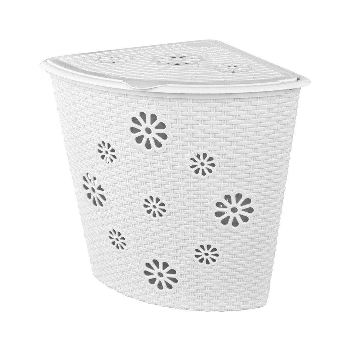 Корзина для белья Альтернатива Плетенка, угловая, цвет: белый, 45 л531-105Угловая корзина для белья Альтернатива Плетенка изготовлена из прочного пластика. Она отлично подойдет для хранения белья перед стиркой. Специальные отверстия на стенках и крышке в форме цветов создают идеальные условия для проветривания. Изделие оснащено крышкой. Такая корзина для белья прекрасно впишется в интерьер ванной комнаты.