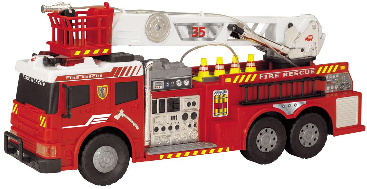 """Пожарная машина на радиоуправлении """"Dickie Toys"""" обязательно порадует вашего ребенка и подарит ему множество веселых игр и положительных эмоций. Выполненная из высококачественного безопасного пластика игрушка отличается большим размером и имеет интересные световые и звуковые эффекты. Стрела пожарной машины поворачивается, лестница выдвигается. Для большей реалистичности стрела оснащена резиновым шлангом с функцией подачи воды. Ребенок сможет залить в специально предназначенный отсек настоящую воду и тушить воображаемые пожары. Кроме того, модель обладает высокой детализацией и имеет инерционный механизм. Машинкой можно управлять при помощи пульта управления и просто катать ее по полу или земле. При помощи пульта игрушка движется вперед, назад, влево и вправо, также на пульте расположены кнопки включения сирены и подачи воды. Радиоуправляемые игрушки развивают у ребенка мелкую моторику, логику, координацию движений и пространственное мышление. Порадуйте своего малыша таким..."""