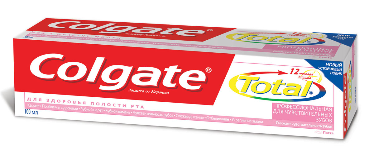 Colgate Зубная паста TOTAL12 Профессиональная для чувствительных зубов 100 мл26102025Зубная паста Colgate® Total Для Чувствительных зубов обеспечивает комплексную защиту и содержит специальный ингредиент, который помогает снизить чувствительность зубов.