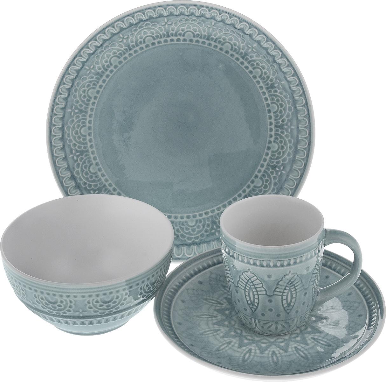Набор столовой посуды Tongo, цвет: серый, 4 предмета31700002Набор столовой посуды Tongo состоит из салатника, кружки, десертной тарелки, обеденной тарелки. Изделия выполнены из экологически чистой каменной керамики, покрытой сверкающей глазурью. Посуда оформлена изысканным рельефным орнаментом. Поверхность слегка потрескавшаяся, что придает изделию винтажный вид и оттенок старины. Такой набор посуды прекрасно подходит как для торжественных случаев, так и для повседневного использования. Стильный дизайн изящно украсит сервировку стола. Можно использовать в посудомоечной машине и СВЧ. Диаметр десертной тарелки: 20,5 см. Диаметр обеденной тарелки: 26,7 см. Объем салатника: 800 мл. Диаметр салатника (по верхнему краю): 16 см. Высота салатника: 8 см. Объем кружки: 350 мл. Диаметр кружки (по верхнему краю): 9 см. Высота кружки: 10 см.