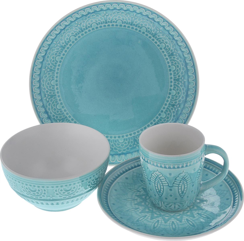 Набор столовой посуды Tongo, цвет: голубой, 4 предмета115510Набор столовой посуды Tongo состоит из салатника, кружки, десертной тарелки, обеденной тарелки. Изделия выполнены из экологически чистой каменной керамики, покрытой сверкающей глазурью. Посуда оформлена изысканным рельефным орнаментом. Поверхность слегка потрескавшаяся, что придает изделию винтажный вид и оттенок старины. Такой набор посуды прекрасно подходит как для торжественных случаев, так и для повседневного использования. Стильный дизайн изящно украсит сервировку стола. Можно использовать в посудомоечной машине и СВЧ. Диаметр десертной тарелки: 20,5 см. Диаметр обеденной тарелки: 26,7 см. Объем салатника: 800 мл. Диаметр салатника (по верхнему краю): 16 см. Высота салатника: 8 см. Объем кружки: 350 мл. Диаметр кружки (по верхнему краю): 9 см. Высота кружки: 10 см.