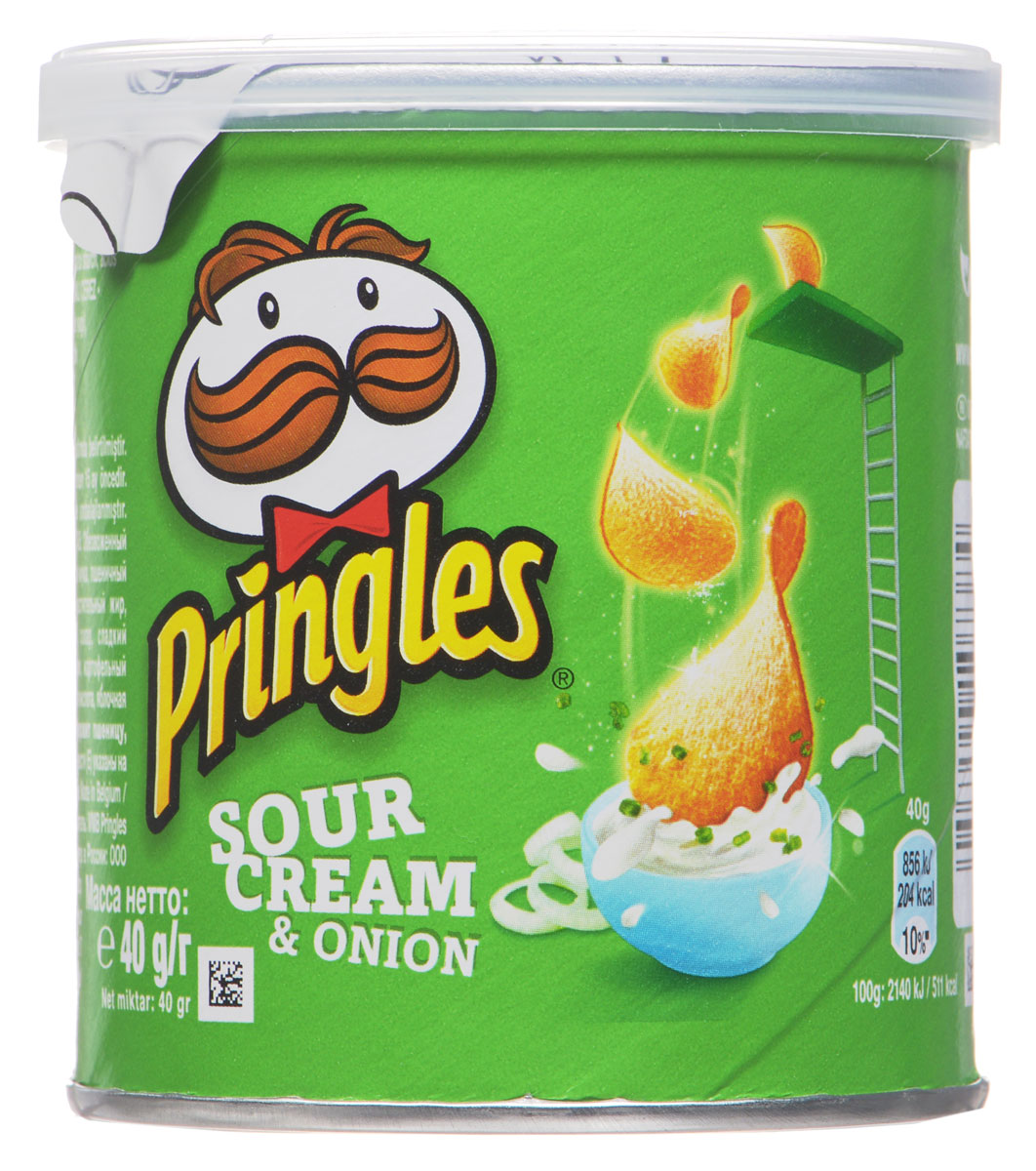 Pringles картофельные чипсы со вкусом сметаны и лука, 40 г0120710Картофельные чипсы Pringles со вкусом сметаны и лука подарят вам неповторимый вкус этого совершенного сочетания.