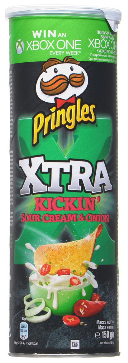Pringles Xtra картофельные чипсы со вкусом сметаны и лука, 150 г0120710Картофельные чипсы Pringles Xtra со вкусом сметаны и лука подарят вам неповторимый вкус этого превосходного сочетания.
