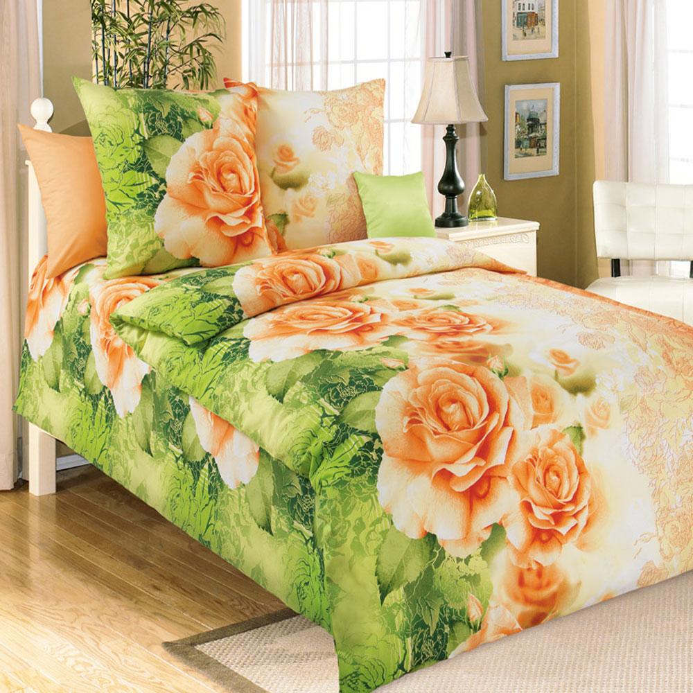 Комплект белья БеЛиссимо Эстель, 1,5-спальный, наволочки 70х70, цвет: зеленый, оранжевый. 1100АK100Комплект постельного белья БеЛиссимо Эстель является экологически безопасным для всей семьи, так как выполнен из натурального хлопка. Комплект состоит из пододеяльника, простыни и двух наволочек. Постельное белье оформлено оригинальным цветочным 3D рисунком и имеет изысканный внешний вид.Для производства постельного белья используются экологичные ткани высочайшего качества.Бязь - хлопчатобумажная плотная ткань полотняного переплетения. Отличается прочностью и стойкостью к многочисленным стиркам. Бязь считается одной из наиболее подходящих тканей, для производства постельного белья и пользуется в России большим спросом.Коллекция эксклюзивных дизайнов БеЛиссимо - это яркое настроение интерьера вашей спальни. Натуральная ткань (бязь, 100% хлопок) и отличный пошив комплектов - залог вашего комфортного здорового сна.