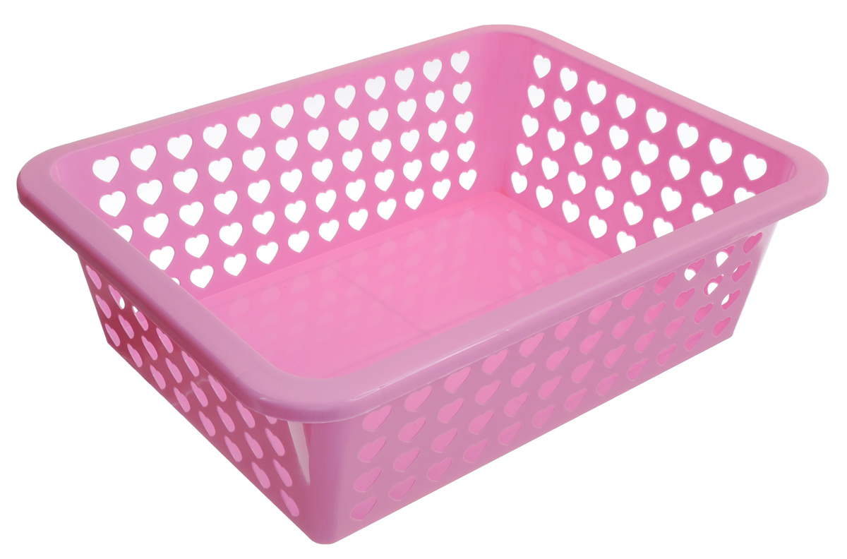 Корзина Альтернатива Вдохновение, цвет: светло-розовый, 39,5 х 29,7 х 12 смRG-D31SКорзина Альтернатива Вдохновение выполнена из пластика и оформлена перфорацией в виде сердечек. Изделие имеет сплошное дно и жесткую кромку. Корзина предназначена для хранения мелочей в ванной, на кухне, на даче или в гараже. Позволяет хранить мелкие вещи, исключая возможность их потери.