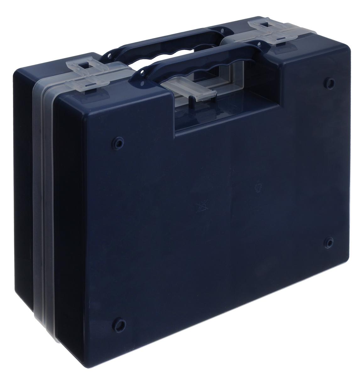 Органайзер Idea, двойной, цвет: синий, 27,2 см х 21,7 см х 10 смМ 2957_синийОрганайзер Idea изготовлен из высококачественного прочного пластика и предназначен для хранения и переноски инструментов. Состоит из 2-х органайзеров, прикрепленных друг к другу. Внутри каждого - 14 прямоугольных секций разной формы.Органайзеры надежно закрываются при помощи пластмассовых защелок. Крышки выполнены из прозрачного пластика, что позволяет видеть содержимое.Благодаря специальным крепежам оба органайзера надежно соединены друг с другом.Размеры секций:24 секции Размер: 6,6 см х 5,3 см х 4,7 см;4 секции Размер: 8,1 см х 3,3 см х 4,7 см.