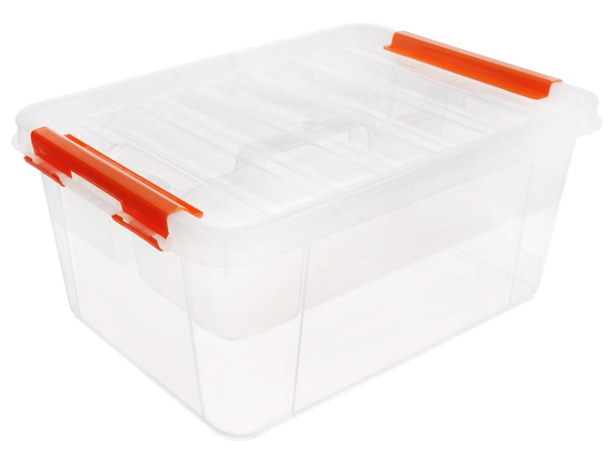 Ящик Полимербыт Профи, с вкладышем, цвет: прозрачный, оранжевый, 15 лС50801_прозрачный, оранжевыйВместительный ящик Полимербыт Профи выполнен из прозрачного пластика и предназначен для хранения различных предметов. Ящик оснащен удобной крышкой с рельефной поверхностью. Внутри ящика имеется съемный вкладыш с двумя глубокими секциями. Контейнер снабжен двумя фиксаторами по бокам, придающими дополнительную надежность закрывания крышки. Вместительный контейнер позволит сохранить различные нужные вещи в порядке, а герметичная крышка предотвратит случайное открывание, защитит содержимое от пыли и грязи.Размер отделений: 29 см х 37 см х 18 см; 29 см х 37 см х 9,5 см.Размер секций: 12,5 см х 36 см х 9,5 см.