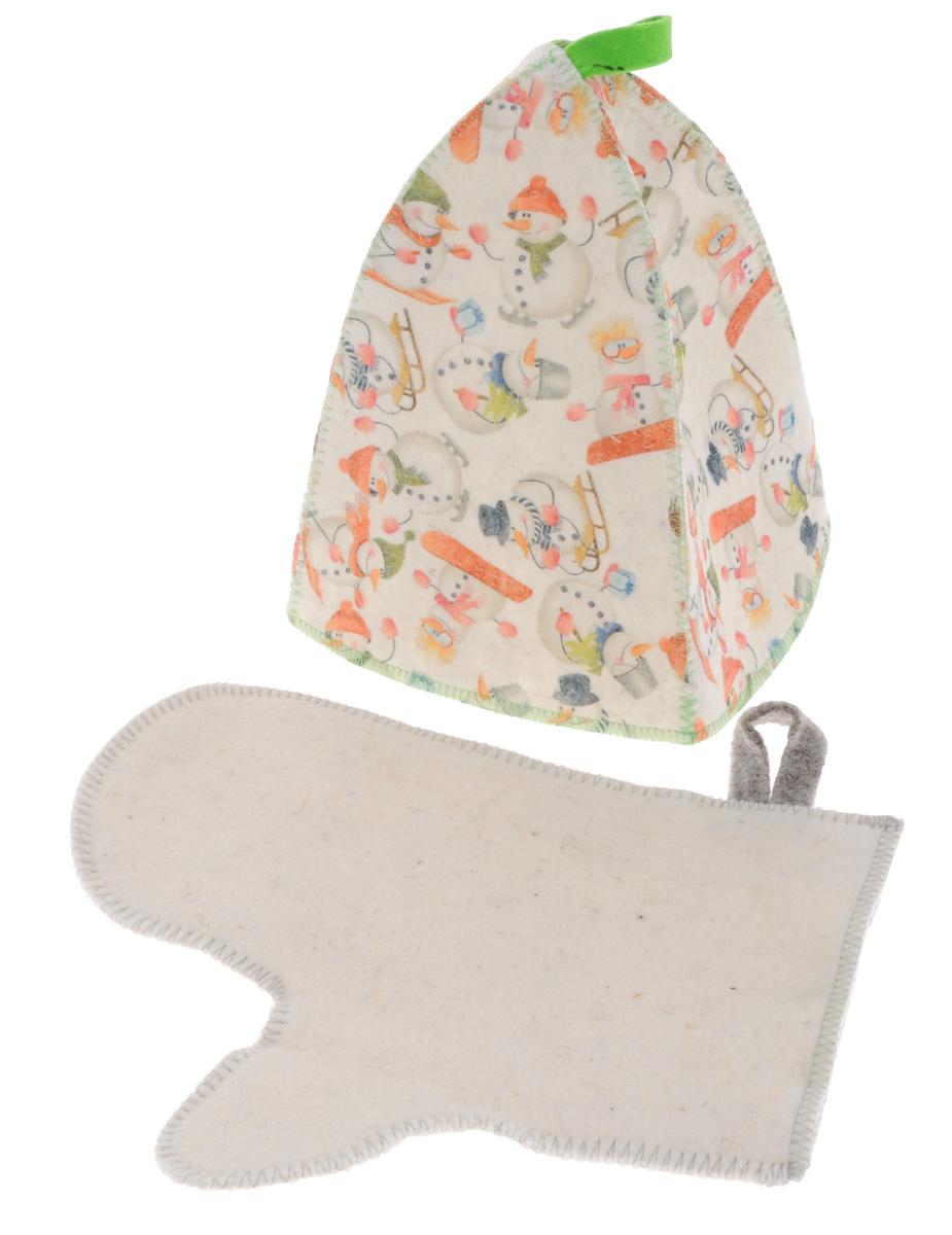 Набор банный Главбаня Снеговики, 2 предмета531-301Подарочный набор для бани Главбаня Снеговики включает только самое необходимое: шапку и рукавицу. Изделия выполнены из войлока (шерсть с добавлением полиэфира). Шапка оформлена изображением веселых снеговиков.Шапка и рукавица - это незаменимые аксессуары для любителей попариться в русской бане и для тех, кто предпочитает сухой жар финской бани. Необычный дизайн изделий поможет сделать ваш отдых приятным и разнообразным. Шапка защитит волосы от сухости и ломкости, голову от перегрева и предотвратит появление головокружения, а рукавица защитит ваши руки при контакте с горячими предметами в парилке. На изделиях имеются петельки, с помощью которых их можно повесить на крючок в предбаннике.Такой набор станет отличным новогодним подарком для любителей отдыха в бане или сауне. Пластиковая сумочка на молнии позволит удобно хранить изделия. Размер рукавицы: 28 см х 23 см. Обхват головы: 72 см. Высота шапки: 25 см.