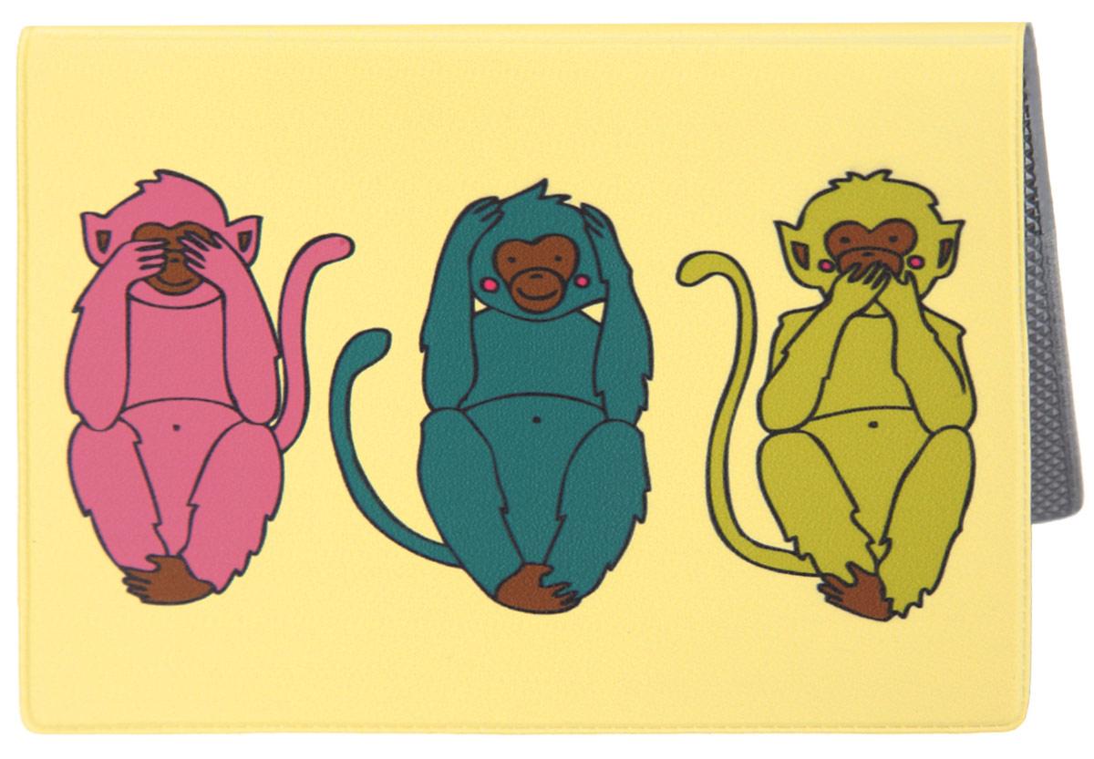 Обложка для паспорта Три мудрых обезьяны на светло-желтом. OZAM38735665Яркая обложка для паспорта Mitya Veselkov Три мудрых обезьяны на светло-желтом выполнена из поливинилхлорида и оформлена принтом с изображением разноцветных обезьянок.Изделие раскладывается пополам. Внутри расположены два накладных кармана.Обложка для паспорта поможет сохранить внешний вид ваших документов и защитить их от повреждений, а также станет стильным аксессуаром, который подчеркнет ваш образ.