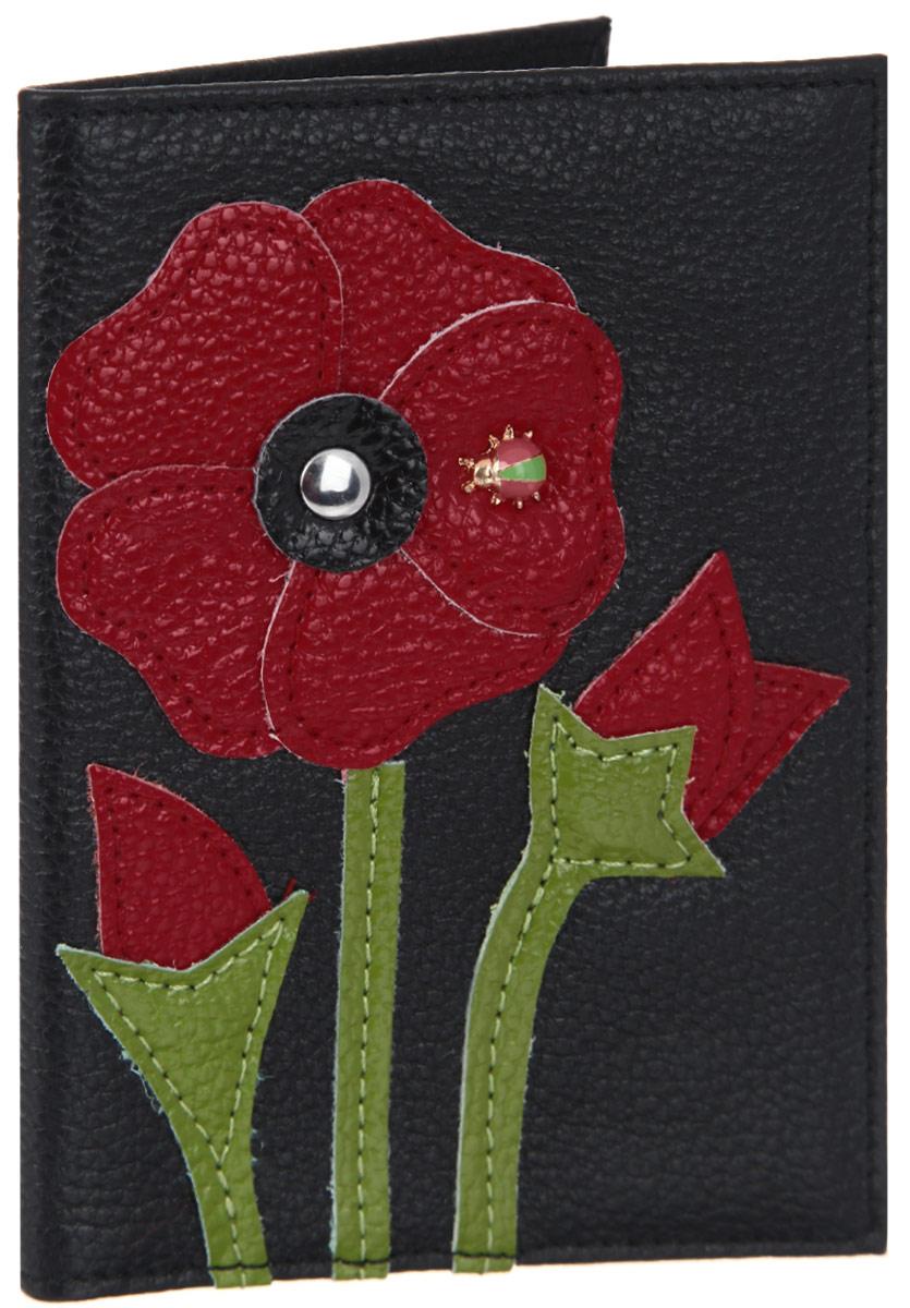 Обложка для паспорта женская Cheribags, цвет: черный, красный, зеленый. OP-32A52_108Оригинальная обложка для паспорта Cheribags выполнена из натуральной кожи с зернистой фактурой и оформлена аппликацией из кожи в виде цветка, на лепестке которого сидит божья коровка.Изделие раскладывается пополам. Внутри расположены два накладных кармана из пластика.Обложка для паспорта Cheribags поможет сохранить внешний вид ваших документов и защитить их от повреждений, а также станет стильным аксессуаром, который подчеркнет ваш образ.