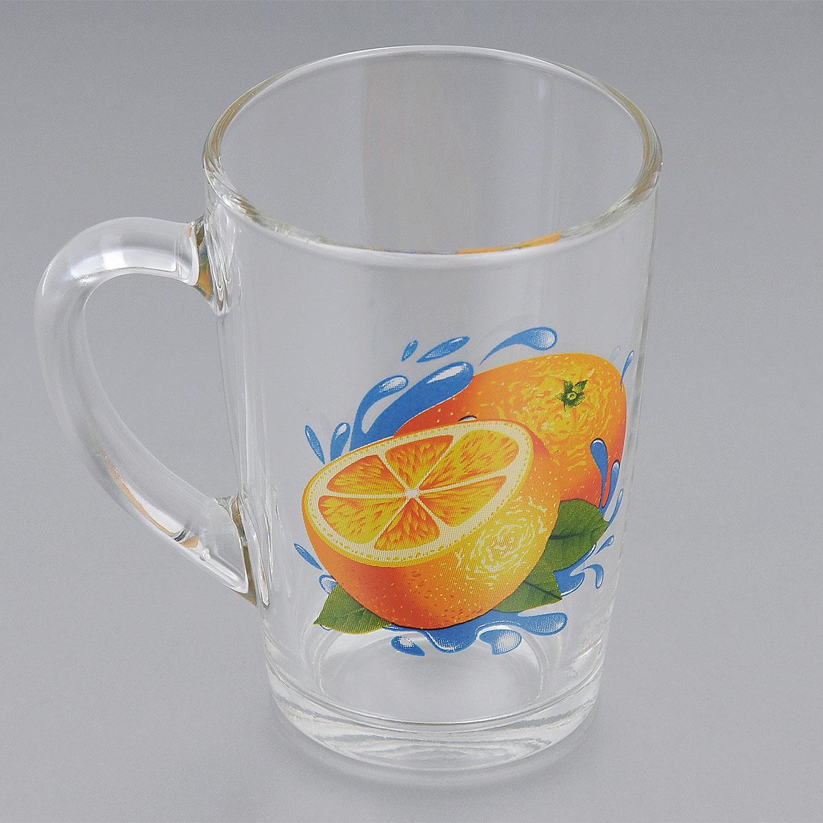Кружка ОСЗ Апельсин, 300 мл115510Кружка ОСЗ Апельсин выполнена из высококачественного стекла. Внешние стенки оформлены изображением апельсинов. Такая кружка станет неизменным атрибутом чаепития и порадует вас классическим лаконичным дизайном и практичностью.