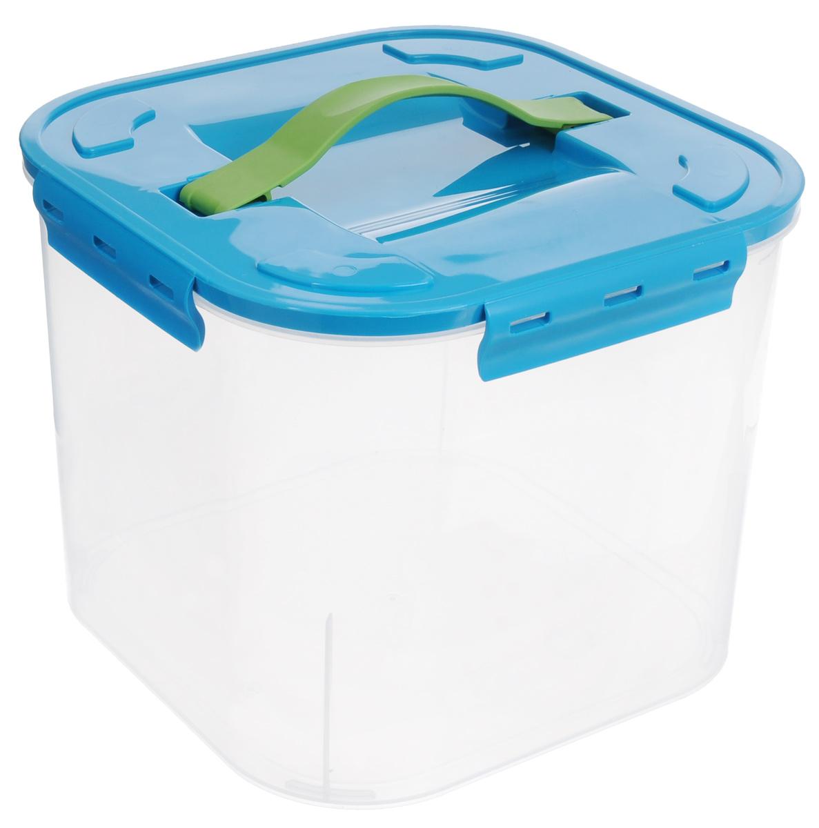 Контейнер для хранения Idea, цвет: бирюзовый, прозрачный, 7 л1004900000360Контейнер для хранения Idea выполнен из прозрачного пластика. Контейнер идеально подойдет для хранения пищевых продуктов, а также любых мелких бытовых предметов: канцелярии, принадлежностей для шитья и многого другого. Контейнер плотно закрывается цветной крышкой с 4 защелками. Для удобства переноски сверху имеется ручка, выполненная из термоэластопласта. Контейнер Idea очень вместителен, он пригодится в любом хозяйстве.