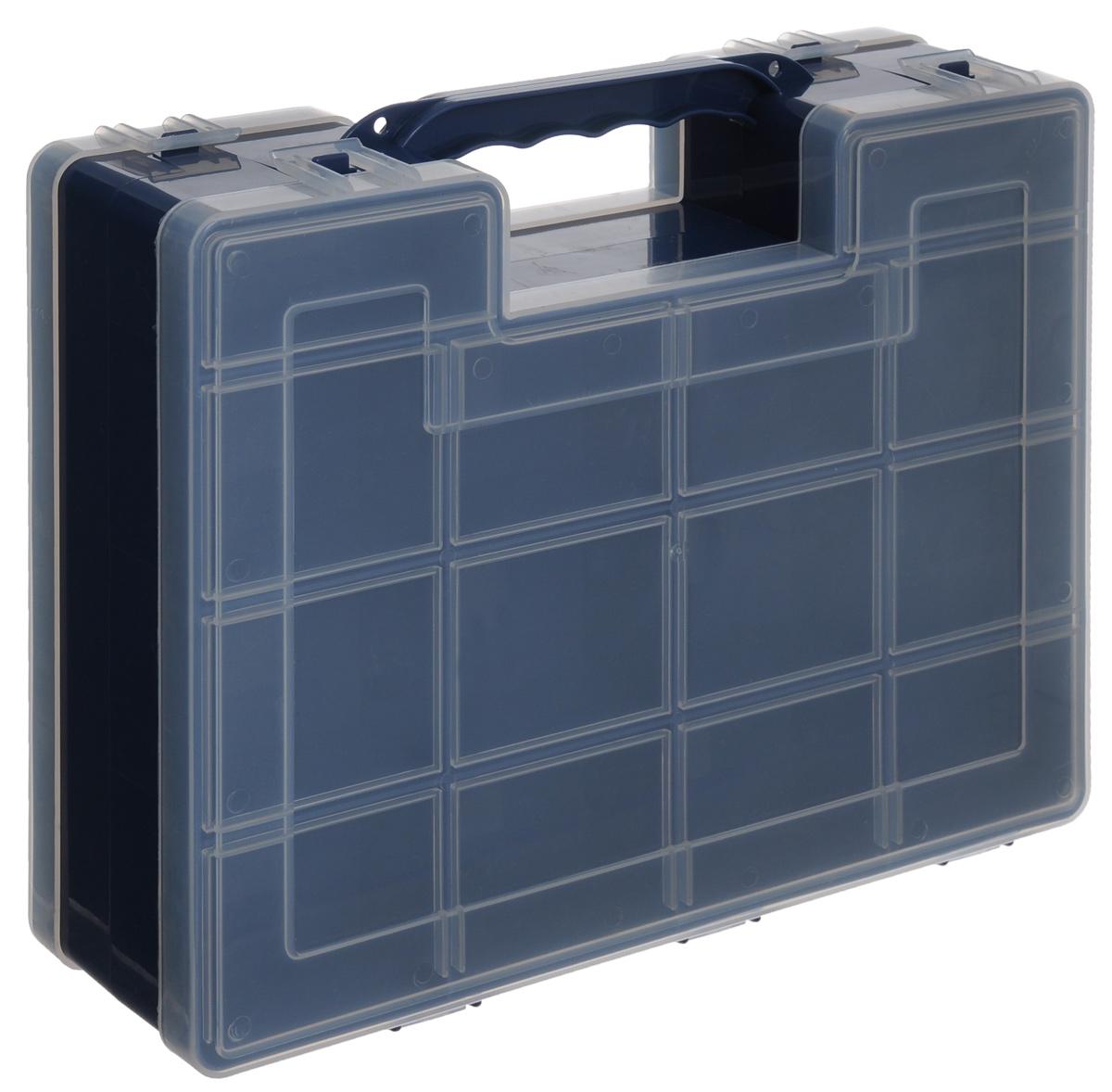 Органайзер для инструментов Idea, двухсторонний, цвет: синий, 27,2 см х 21,7 см х 6,7 смБрелок для ключейДвухсторонний органайзер Idea, изготовленный из пластика, выполнен в форме кейса. Органайзер служит для хранения и переноски инструментов. Внутри - 14 отделений с одной стороны и 9 с другой.Органайзер надежно закрывается при помощи пластмассовых защелок. Крышка выполнена из прозрачного пластика, что позволяет видеть содержимое.Размеры секций (лицевая сторона):- размер (12 секций): 6,6 см х 5,3 см х 3 см;- размер (2 секций): 8,1 см х 3,3 см х 3 см.Размеры секций (задняя сторона): - размер (2 секций): 13,2 см х 5,3 см х 3 см;- размер (1 секции): 26,6 см х 5,3 см х 3 см;- размер (4 секций): 6,6 см х 5,3 см х 3 см;- размер (2 секций): 8,1 см х 3,3 см х 3 см.