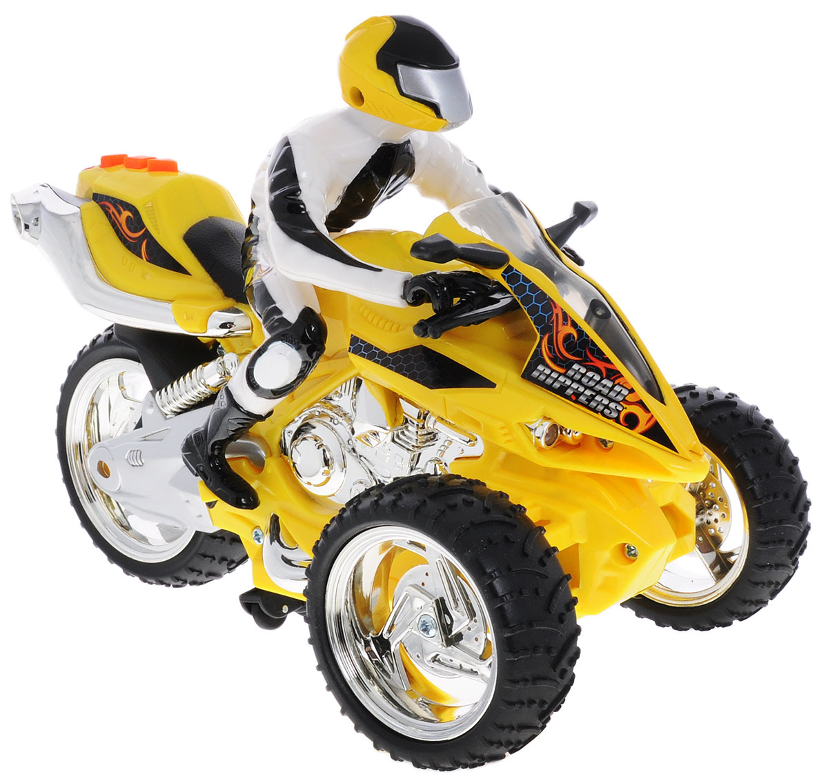 """Трицикл """"Toystate"""" непременно понравится любому маленькому гонщику. Игрушка выполнена из прочного безопасного пластика с элементами металла. Радиоуправляемый трицикл со световыми и звуковыми эффектами. Трицикл может ехать как вперед и назад, так вправо и влево. У него мигают фары, и звучит мотор. Ваш ребенок почувствует себя настоящим маленьким гонщиком! При нажатии на кнопу, расположенную на сиденье, воспроизводятся различные звуки, а также загораются фары. Яркий, реалистичный, выполненный с вниманием к деталям, станет отличным дополнением к автопарку вашего малыша! Ваш ребенок часами будет играть с такой игрушкой, придумывая различные истории и устраивая соревнования. Порадуйте его таким замечательным подарком! Для работы трицикла рекомендуется докупить 4 батарейки ААА, для работы пульта - 3 батарейки ААА (товар комплектуется демонстрационными)."""