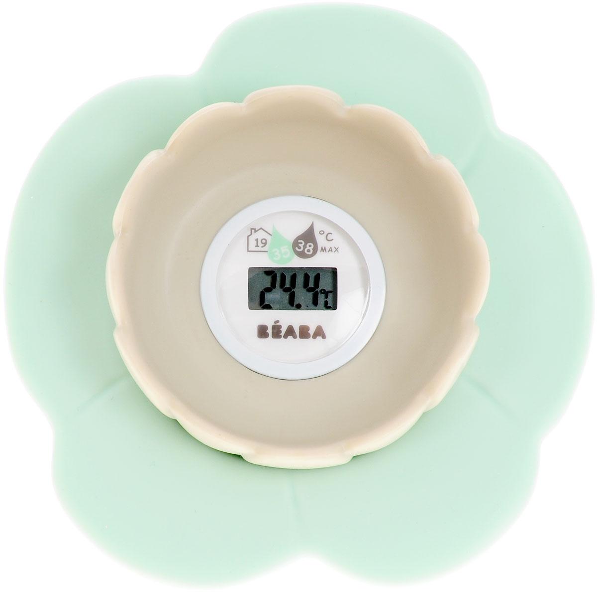 """Цифровой электронный термометр для ванны Bebaba """"Lotus"""" позволяет определить температуру воды, обеспечивающую комфортное купание ребенка. Термометр, выполненный в виде цветка лотоса, показывает точную температуру воды в ванне и температуру воздуха в помещении. Дизайн термометра позволяет ему с легкостью держаться на воде. Такой термометр станет незаменимым помощником для заботливых родителей, а также он послужит прекрасной игрушкой для малыша во время купания. Рекомендуется докупить 1 батарейку типа CR2032 (товар комплектуется демонстрационной)."""