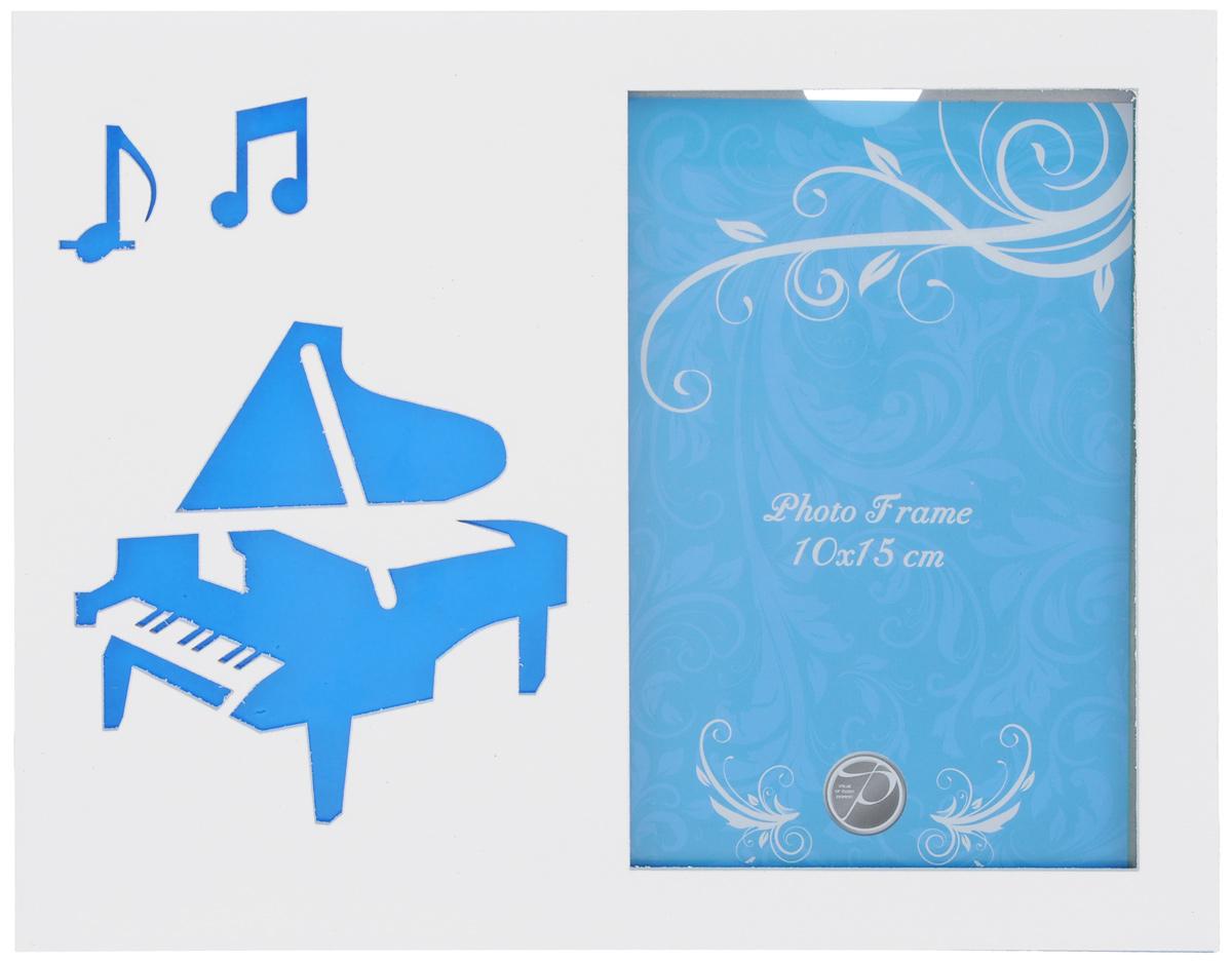 Фоторамка Pioneer Music. Рояль, цвет: белый, голубой, 10 х 15 смБрелок для ключейФоторамка Pioneer Music. Рояль поможет вам оригинально дополнить интерьер помещения. Фоторамка изготовлена из МДФ и стекла и оформлена перфорацией в виде гитары и нот. Задняя сторона оснащена ножкой для размещения на столе.Такая рамка позволит сохранить на память изображения дорогих вам людей и интересных событий вашей жизни, а также станет приятным подарком для каждого. Размер фоторамки: 17,5 см х 22,5 см.