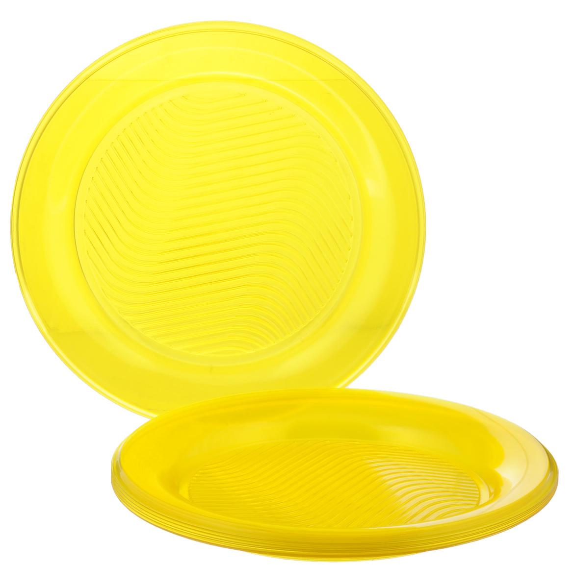 Набор одноразовых тарелок Bibo Super Party, цвет: желтый, диаметр 20,5 см, 10 штПОС30520Набор Bibo Super Party состоит из 10 круглых тарелок, выполненных из высококачественного пластика и предназначенных для одноразового использования. Изделия декорированы рельефным узором.Одноразовые тарелки будут незаменимы при поездках на природу, пикниках и других мероприятиях. Они не займут много места, легки и самое главное - после использования их не надо мыть.Диаметр тарелки: 20,5 см.Высота тарелки: 1,5 см.