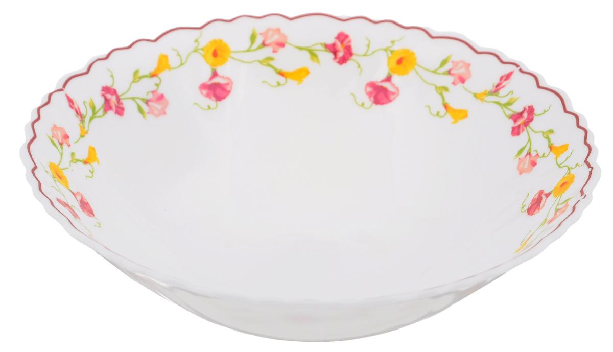Тарелка суповая Эльзас, диаметр 19 см115510Суповая тарелка Chinbull Эльзас, выполненная из высококачественной стеклокерамики, оформлена изображением цветов. Изящный дизайн придется по вкусу и ценителям классики, и тем, кто предпочитает утонченность. Тарелка Chinbull Эльзас идеально подойдет для сервировки стола и станет отличным подарком к любому празднику.Диаметр (по верхнему краю): 19 см.Высота стенки: 5,5 см.