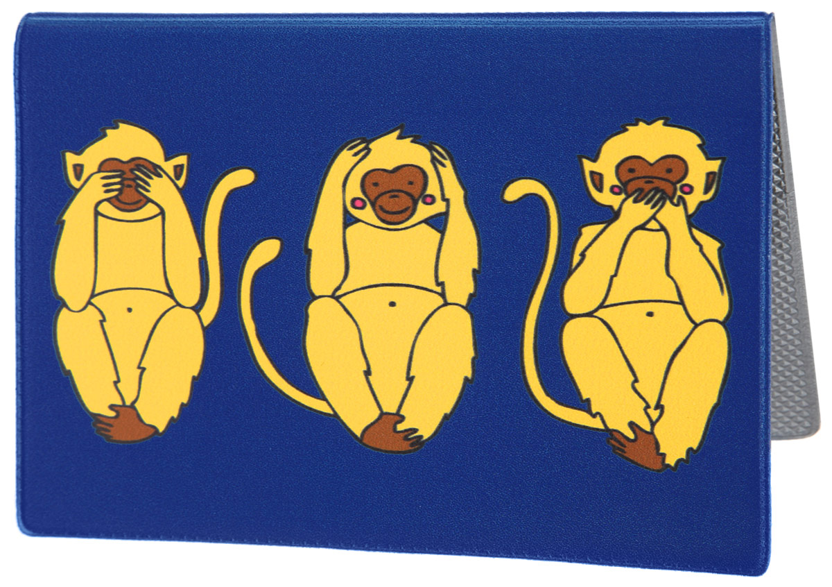 Обложка для паспорта Три мудрых обезьяны на синем. OZAM388BR530Яркая обложка для паспорта Mitya Veselkov Три мудрых обезьяны на синем выполнена из поливинилхлорида и оформлена принтом с изображением обезьянок.Изделие раскладывается пополам. Внутри расположены два накладных кармана.Обложка для паспорта поможет сохранить внешний вид ваших документов и защитить их от повреждений, а также станет стильным аксессуаром, который подчеркнет ваш образ.