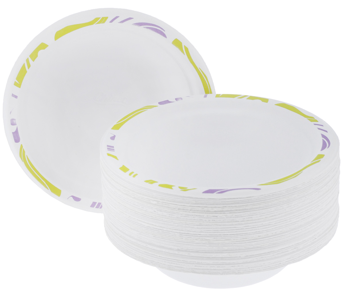 Набор одноразовых тарелок Chinet Flavour, цвет: белый, светло-зеленый, диаметр 18 см, 50 шт709Набор Chinet Flavour состоит из 50 круглых тарелок, выполненных из плотной бумаги и предназначенных для одноразового использования. Изделия декорированы оригинальным узором. Одноразовые тарелки будут незаменимы при поездках на природу, пикниках и других мероприятиях. Они не займут много места, легки и самое главное - после использования их не надо мыть.Диаметр тарелки: 18 см.Высота тарелки: 1,5 см.