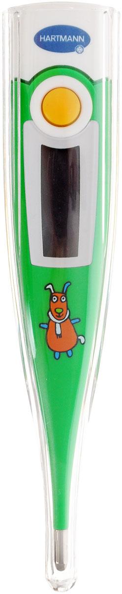 Paul Hartmann Термометр детский Thermoval Rapid Kid цвет зеленыйAS-501/RМедицинский электронный термометр Paul Hartmann  Thermoval Rapid Kid - это быстрый и легкий способ измерить температуру тела у ребенка.Термометр предназначен для измерения температуры во рту, в подмышечной впадине и ректально (в прямой кишке). При производстветермометра использовались только безопасные материалы. Удобство измерения обеспечивается цифровым хорошо читаемым дисплеем скрупными цифрами, сверхбыстрой скоростью измерения (от 10 секунд, в зависимости от способа измерения). Уникальная высокоскоростнаятехнология позволяет измерять температуру тела быстро, обеспечивая высочайшую точность измерений и надежность. По окончании измерениятермометр отключится автоматически. Память последнего измерения дает возможность сравнивать полученные результаты.В комплект также входит защитный футляр для термометра. Прибор выполнен из прочного безопасного пластика и оформлен забавнымизображением зайчика в шарфике.Рекомендуется докупить 1 батарейку типа LR41 (товар комплектуется демонстрационной).