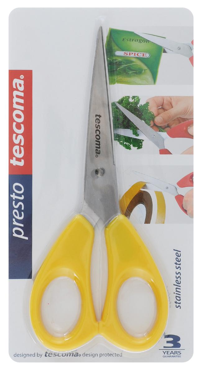 Ножницы Tescoma Presto, универсальные, цвет: желтый, 16 см54 009312Ножницы Tescoma Presto, легкие и удобные в использовании, изготовлены из первоклассной нержавеющей стали. Ручки выполнены из прочной пластмассы. Универсальные ножницы пригодны для резки всех материалов - бумаги, ткани, и других. Общая длина ножниц: 16 см.Длина лезвия: 10 см