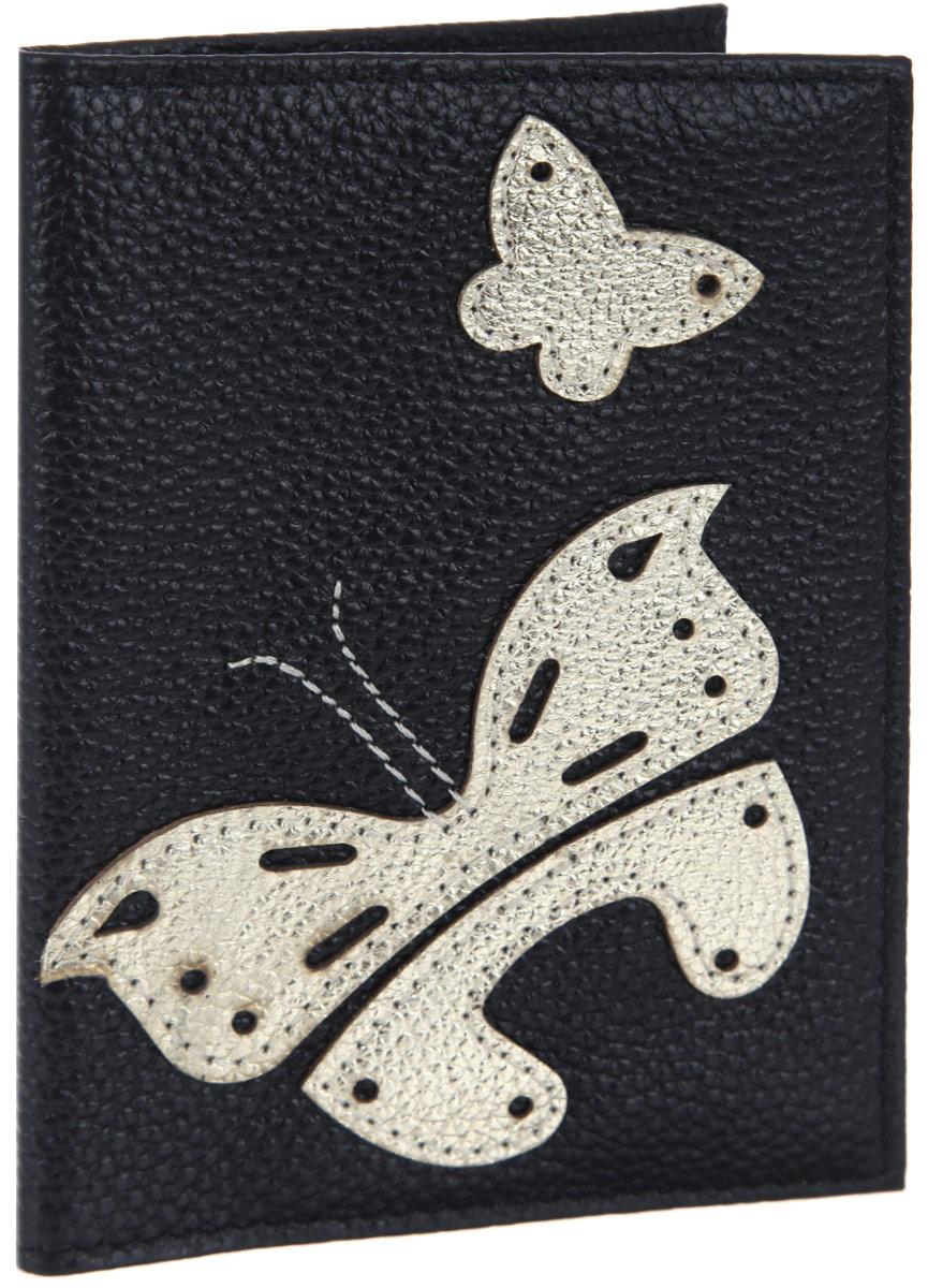 Обложка для паспорта женская Cheribags, цвет: черный, золотой. OP-5O.1/1.KR. макОригинальная обложка для паспорта Cheribags выполнена из натуральной кожи с зернистой фактурой и оформлена аппликацией из кожи в виде бабочек.Изделие раскладывается пополам. Внутри расположены два накладных кармана из пластика.Обложка для паспорта Cheribags поможет сохранить внешний вид ваших документов и защитить их от повреждений, а также станет стильным аксессуаром, который подчеркнет ваш образ.