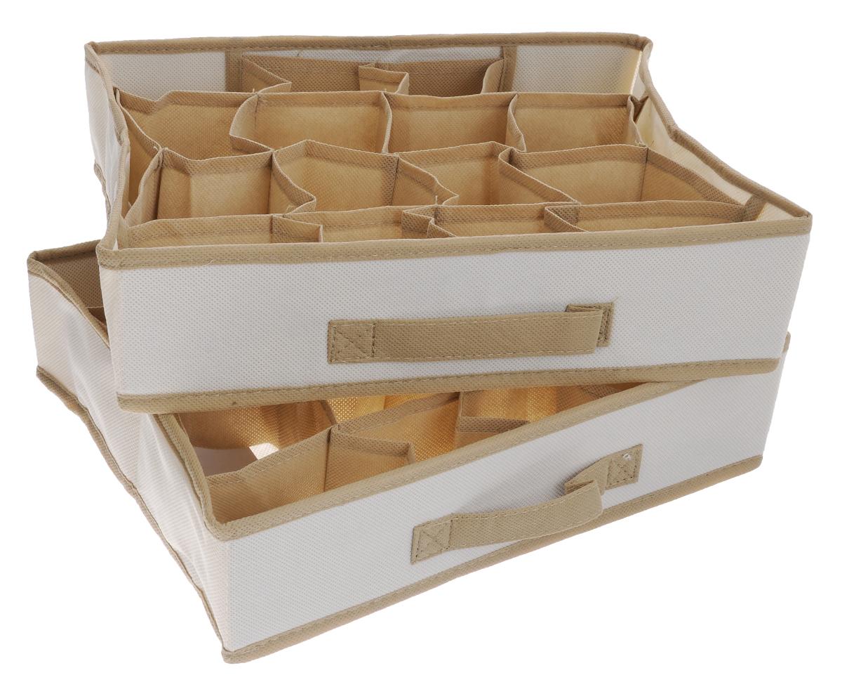 Чехол-коробка для одежды Cosatto Voila, цвет: бежевый, 16 отделений, 2 шт171176Чехол-коробка Cosatto Voila поможет легко и красиво организовать пространство в кладовой, спальне или гардеробе. Изделие выполнено из дышащего нетканого материала (полипропилен). Практичный и долговечный чехол оснащен 16 отделениями для более экономичного использования пространства шкафов и комодов. Нижнее белье, купальники, ремни и прочие мелкие предметы будут всегда находиться на своем месте. Прочность каркаса обеспечивается наличием плотных листов картона.Складная конструкция обеспечивает компактное хранение.Размер отделения: 9 см х 8 см х 9 см.