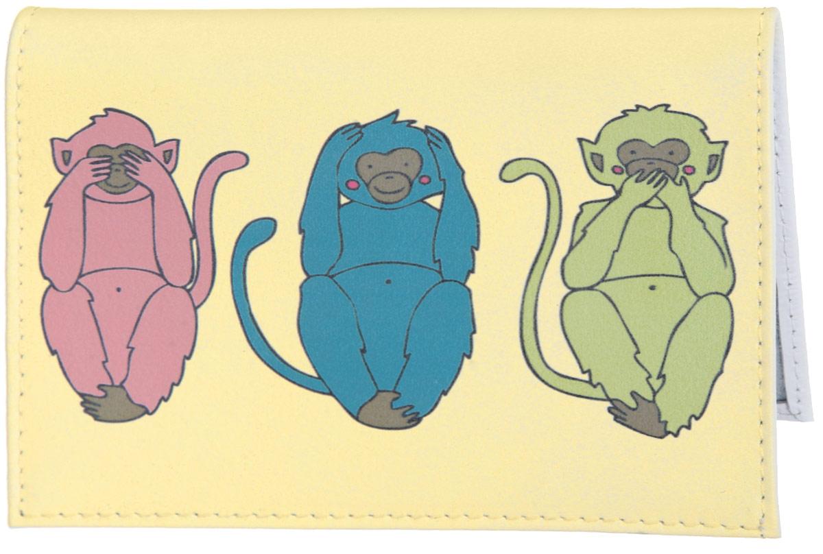 Обложка для автодокументов Три мудрых обезьяны на светло-желтом. AUTO387AUTOZAM277Яркая обложка для автодокументов Mitya Veselkov Три мудрых обезьяны на светло-желтом выполнена из натуральной кожи и оформлена принтом с изображением обезьянок.Изделие раскладывается пополам. Внутри расположены два накладных кармана из пластика и пластиковый вкладыш, состоящий из пяти файлов для автодокументов.Обложка для автодокументов поможет сохранить внешний вид ваших документов и защитить их от повреждений, а также станет стильным аксессуаром, который подчеркнет ваш образ.