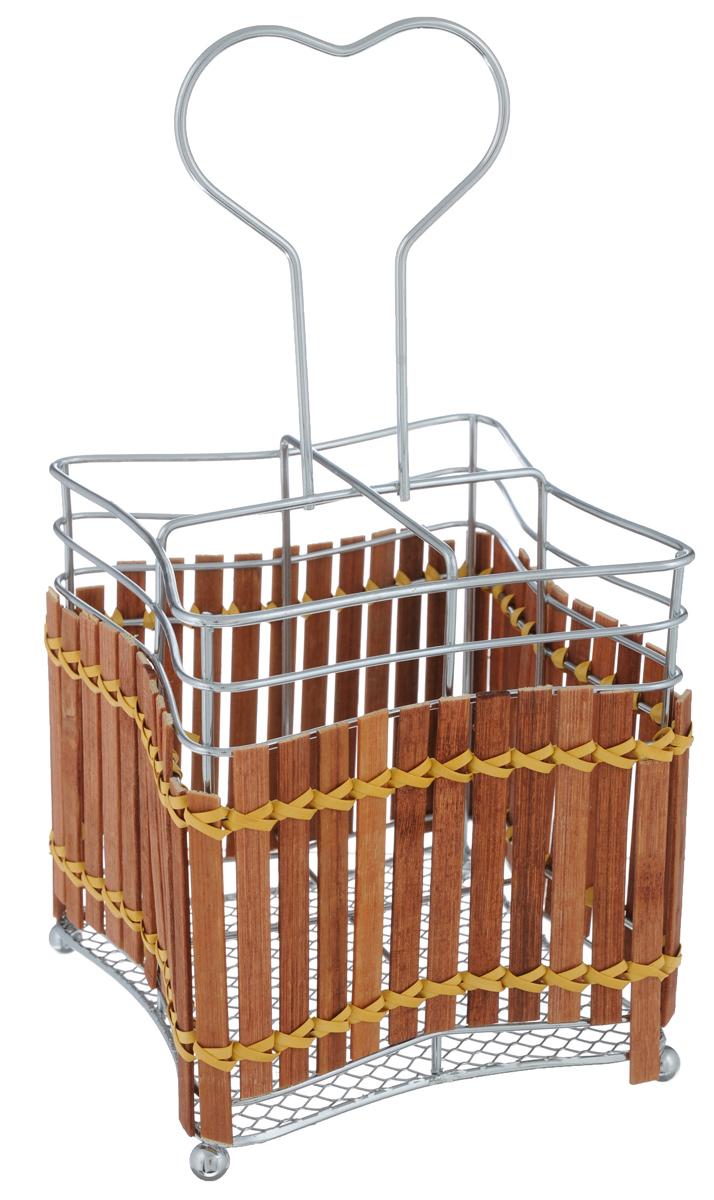 Подставка для столовых приборов Mayer & Boch. 8636FD-59Подставка для столовых приборов Mayer & Boch представляет собой каркас из нержавеющей стали со стальной сеткой в нижней части. Корпус подставки декорирован деревянной плетенкой. Разделенная на четыре секции данная подставка позволяет аккуратно хранить основные типы столовых приборов: ножи, ложки, вилки, чайные ложки. Подставка снабжена удобной ручкой. Вы можете установить ее в любом месте. Такая подставка для столовых приборов станет полезным аксессуаром в домашнем быту и идеально впишется в интерьер современной кухни.