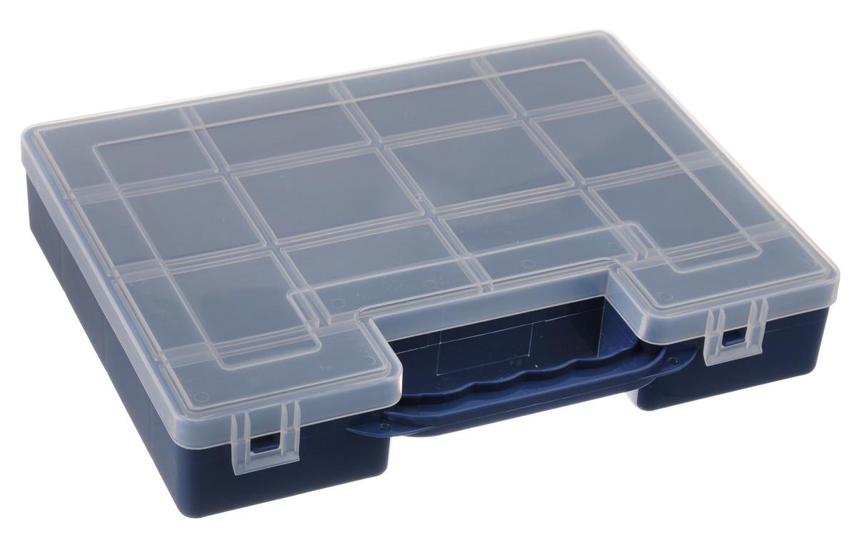 Органайзер для инструментов Idea, цвет: синий, 27,2 см х 21,7 см х 5 см3340_белыйОрганайзер Idea изготовлен из высококачественного прочного пластика и предназначен для хранения и переноски инструментов. Внутри - 14 прямоугольных секций разной формы.Органайзер надежно закрывается при помощи пластмассовых защелок. Крышка выполнена из прозрачного пластика, что позволяет видеть содержимое.Размеры секций:12 секций: Размер: 6,6 см х 5,3 см х 4,7 см;2 секции: Размер: 8,1 см х 3,3 см х 4,7 см.