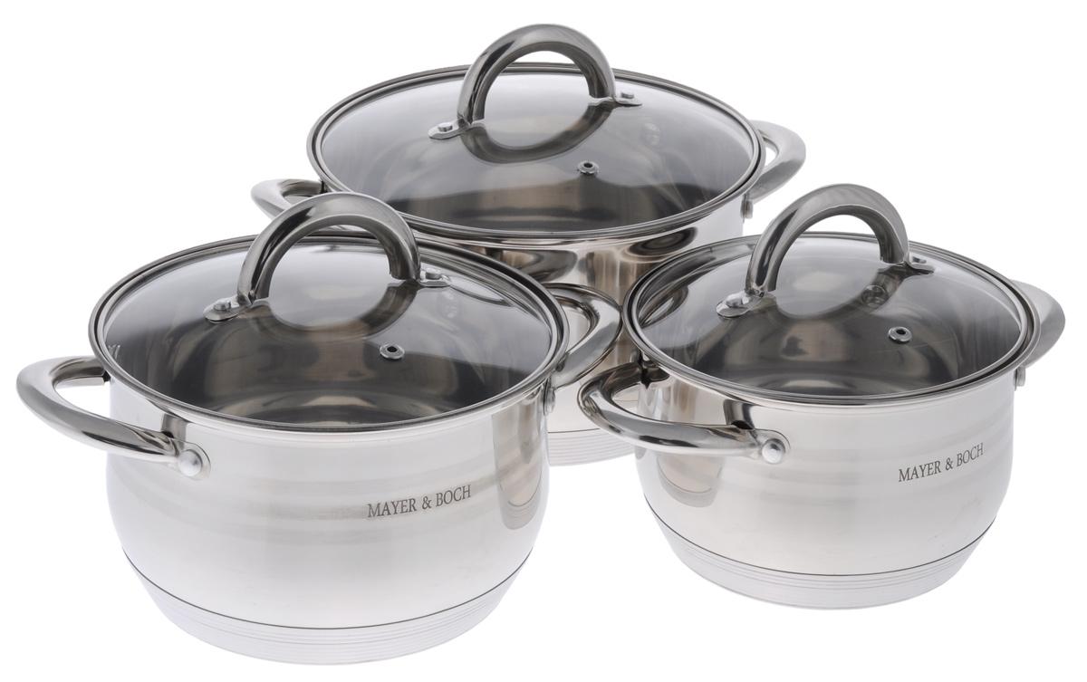 Набор посуды Mayer & Boch, 6 предметов. 2403968/5/3Набор посуды Mayer & Boch состоит из трех кастрюль с крышками. Изделия выполнены из высококачественной нержавеющей стали 18/10 с зеркальной полировкой, которая обеспечивает быстрый подогрев пищи и поддержание тепла. Литые ручки из нержавеющей стали для удобства эксплуатации. В комплекте предусмотрены крышки, выполненные из жаропрочного стекла. Крышки позволяют наблюдать за приготовлением пищи без потери тепла, они плотно прилегают к краям посуды, сохраняя аромат блюд. Этот набор кастрюль предназначен для здорового и экологичного приготовления пищи. Приготовление пищи с небольшим количеством воды позволит продуктам сохранить витамины и минералы. Кастрюли идеальны для приготовления диетических блюд. Можно использовать на всех типах плит, включая индукционные. Можно мыть в посудомоечной машине. Объем кастрюль: 2 л, 2,8 л, 3,8 л. Диаметр кастрюль: 16 см, 18 см, 20 см. Высота стенок кастрюль: 10 см, 11 см, 12 см. Ширина кастрюль (с учетом ручек): 24 см, 26 см, 28 см. Диаметр дна кастрюль: 13 см, 15 см, 17 см. Толщина стенки: 0,5 мм. Толщина дна: 3 мм.