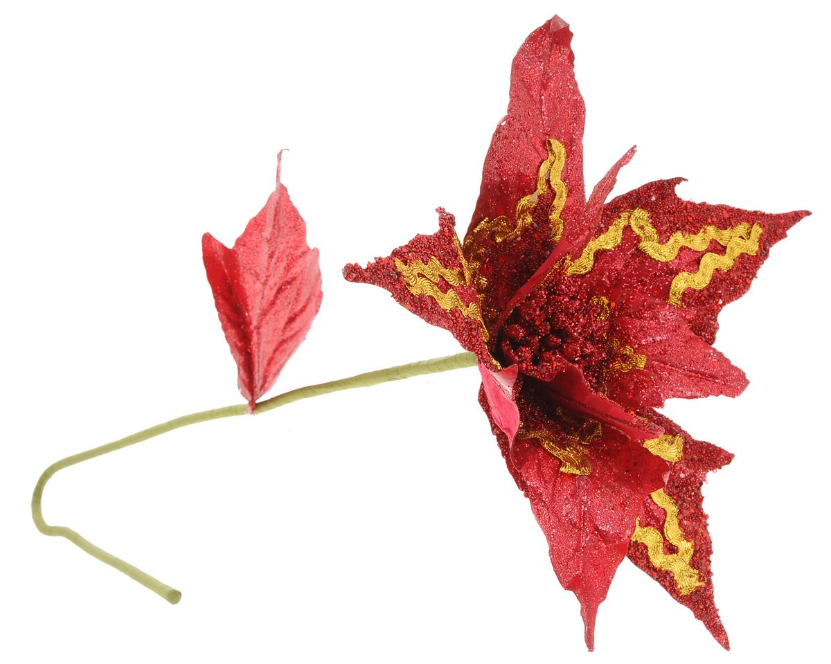 Украшение декоративное Winter Wings Цветок, длина 76 см38189Декоративное украшение Winter Wings Цветок отлично подойдет для декора интерьера. Изделие выполнено из пластика в виде цветка и декорировано мелким бисером. Благодаря гнущемуся стеблю изделие можно закрепить где угодно. Красивый яркий цветок оригинально украсит интерьер вашего помещения.