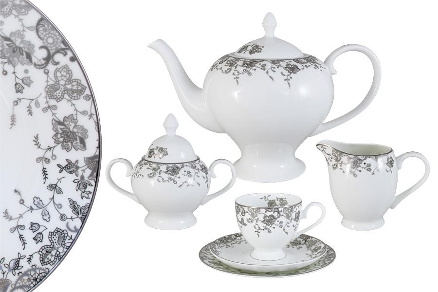 Чайный сервиз 21 предмет на 6 персон  Эстель. E5-14-601/21-AL730443Чайная и обеденная столовая посуда торговой марки Emerald произведена из высококачественного костяного фарфора. Благодаря высокому качеству исполнения, разнообразным декорам и оптимальному соотношению цена – качество, посуда Emerald завоевала огромную популярность у покупателей и пользуется неизменно высоким спросом. Поверхность изделий покрыта превосходной сверкающей глазурью, не содержащей свинца.