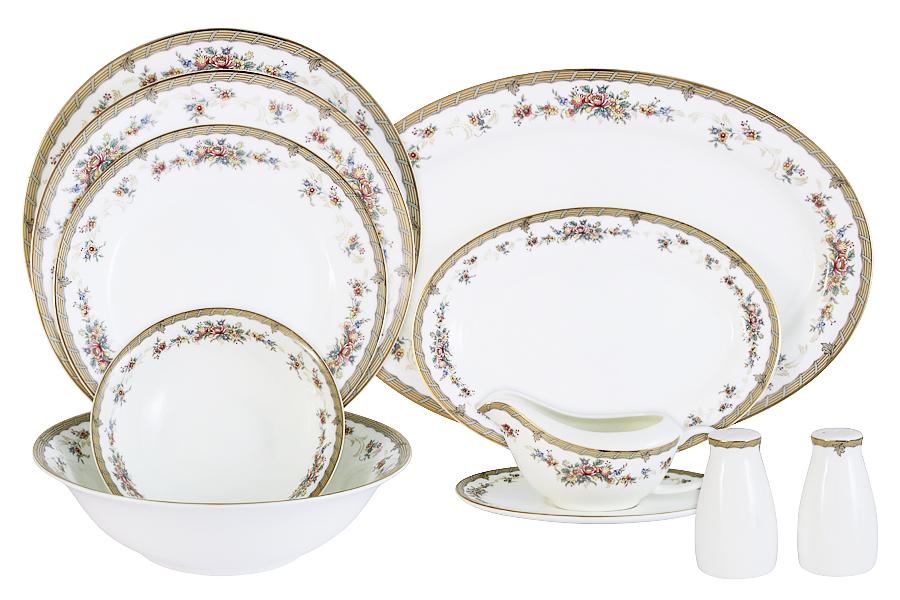 Обеденный сервиз Emerald Изабелла, 27 предметов80-073Обеденный сервиз Emerald состоит из 6 глубоких тарелок, 6 обеденных тарелок, 6 десертных тарелок, 1 большого салатника, 2 маленьких салатников, 1 большого блюда, 1 маленького блюда, соусника с подставкой, солонки и перечницы. Изделия изготовлены из высококачественного костяного фарфора с изящным орнаментом. Поверхность изделий покрыта превосходной сверкающей глазурью, не содержащей свинца.Благодаря высокому качеству исполнения, разнообразным декорам и оптимальному соотношению цена/качество, посуда Emerald завоевала огромную популярность у покупателей и пользуется неизменно высоким спросом. Такой сервиз придется по вкусу любителям классики, и тем, кто предпочитает утонченность и изысканность. Диаметр обеденных тарелок: 25,5 см. Диаметр суповых тарелок: 23 см. Диаметр закусочных тарелок: 21 см. Диаметр большого салатника: 23 см. Диаметр малых салатников: 16,5 см. Диаметр большого блюда: 36,5 см. Диаметр малого блюда: 23,5 см.