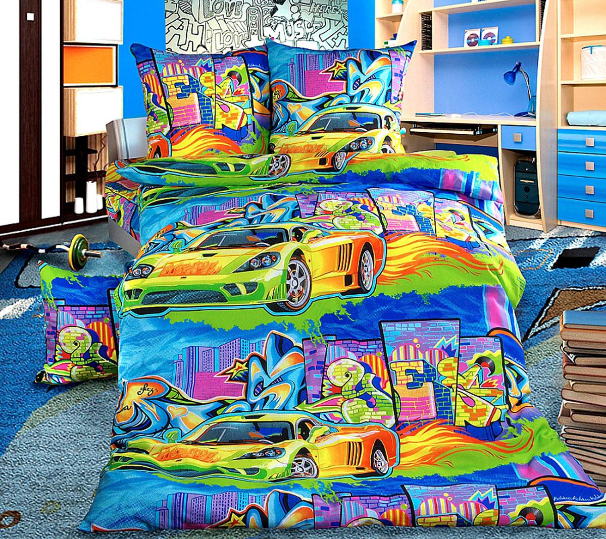 ТексДизайн Комплект детского постельного белья Граффити 1,5-спальный012H1800Комплект детского постельного белья Граффити, состоящий из двух наволочек, простыни и пододеяльника, выполнен из прочной бязи. Комплект постельного белья украшен изображениями яркого граффити на фоне городских многоэтажек и голубого неба. Сегодня компания Текс-Дизайн является крупнейшим поставщиком эксклюзивной набивной бязи. Вся ткань изготовлена из 100% хлопка. Бязь - хлопчатобумажная плотная ткань полотняного переплетения. Отличается прочностью и стойкостью к многочисленным стиркам. Бязь считается одной из наиболее подходящих тканей, для производства постельного белья и пользуется в России большим спросом. Фирменная продукция отличается оригинальным дизайном, высокой прочностью и долговечностью. Такой комплект идеально подойдет для кроватки вашего малыша. На нем ребенок будет спать здоровым и крепким сном.