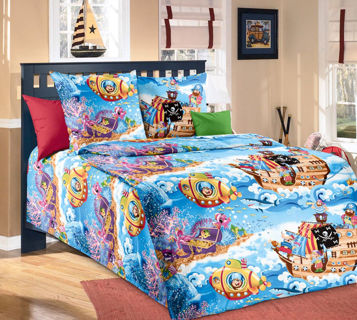 ТексДизайн Комплект детского постельного белья Пираты 1,5-спальный1100АКомплект детского постельного белья Пираты, состоящий из двух наволочек, простыни и пододеяльника, выполнен из прочной бязи. Комплект постельного белья украшен изображениями веселых пиратов, сокровищ и морских обитателей. Сегодня компания Текс-Дизайн является крупнейшим поставщиком эксклюзивной набивной бязи. Вся ткань изготовлена из 100% хлопка. Бязь - хлопчатобумажная плотная ткань полотняного переплетения. Отличается прочностью и стойкостью к многочисленным стиркам. Бязь считается одной из наиболее подходящих тканей, для производства постельного белья и пользуется в России большим спросом. Фирменная продукция отличается оригинальным дизайном, высокой прочностью и долговечностью. Такой комплект идеально подойдет для кроватки вашего малыша. На нем ребенок будет спать здоровым и крепким сном.