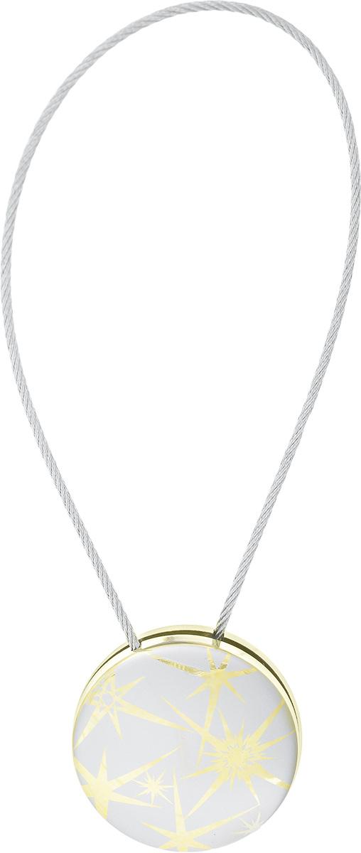 Клипсы магнитные для штор SmolTtx Звездный взрыв, цвет: серый, золотистый, длина 30 смSVC-300Магнитные клипсы SmolTtx Звездный взрыв предназначены для придания формы шторам. Они оформлены декоративным изображением. Изделие представляет собой соединенные тросиком два элемента, на внутренней поверхности которых расположены магниты.С помощью такой клипсы можно зафиксировать портьеры, придать им требуемое положение, сделать складки симметричными или приблизить портьеры, скрепить их.Следует отметить, что такие аксессуары для штор выполняют не только практическую функцию, но также являются одной из основных деталей декора, которая придает шторам восхитительный, стильный внешний вид. Диаметр клипсы: 4,5 см.Длина троса: 30 см.Длина троса (с учетом клипс): 38,5 см.