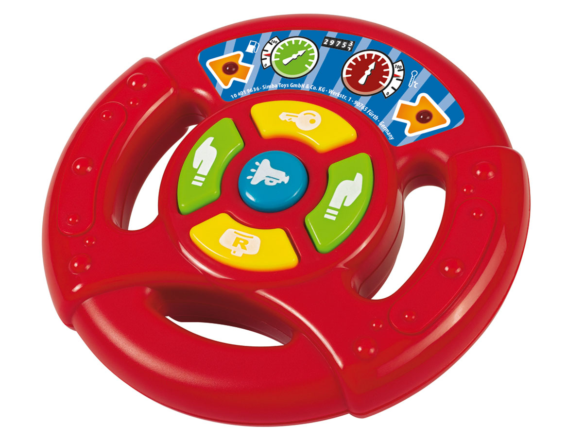 """Музыкальная игрушка """"Руль"""" надолго займет внимание вашего ребенка. Она выполнена из безопасного яркого пластика в виде красного руля автомобиля и оснащена световыми и звуковыми эффектами. На руле расположены 5 кнопок и 2 лампочки, мигающие при нажатии на кнопки. В центре находится кнопка-гудок, боковые кнопки-поворотники. Желтые кнопки воспроизводят звук работающей машины. Игрушка """"Руль"""" способствует развитию цветового и звукового восприятия, внимания, воображения, сообразительности, памяти, координации движений и мелкой моторики рук. Рекомендуется докупить 2 батарейки типа АА (товар комплектуется демонстрационными)."""